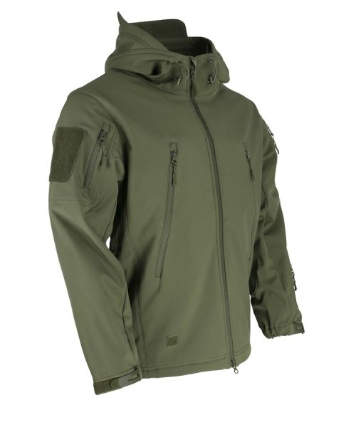 Geaca Hooded Softshell-olive verde