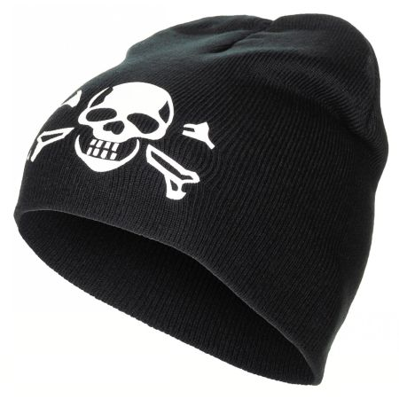 "Knitted Hat, ""Beanie"", black, ""Skull"", fine knit"