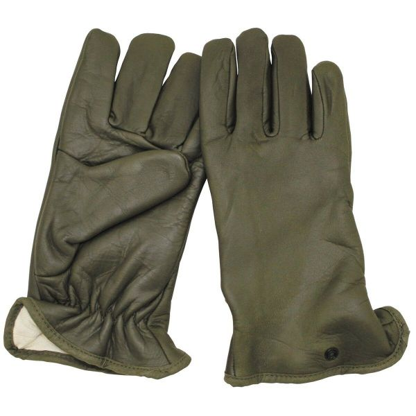 Army leather gloves - France - Olive Green