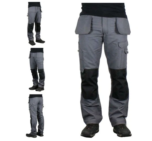 Mens Multi Pockets Work Cargo Trousers